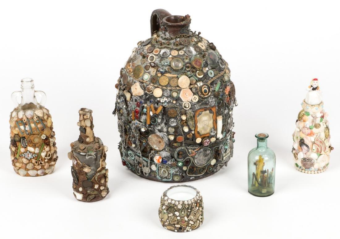 Collection of 6 Old Folk Art Memory Jugs/Bottles