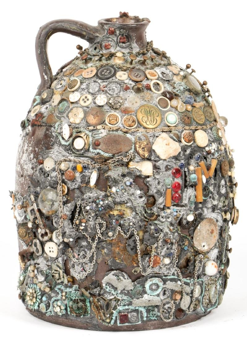 Collection of 6 Old Folk Art Memory Jugs/Bottles - 2