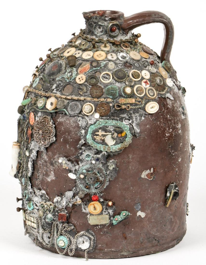Collection of 6 Old Folk Art Memory Jugs/Bottles - 3