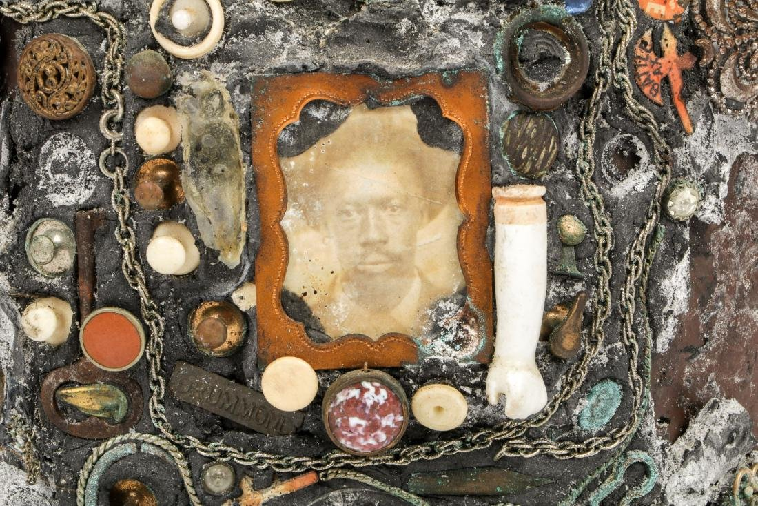 Collection of 6 Old Folk Art Memory Jugs/Bottles - 4