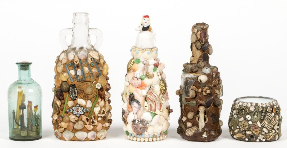 Collection of 6 Old Folk Art Memory Jugs/Bottles - 6