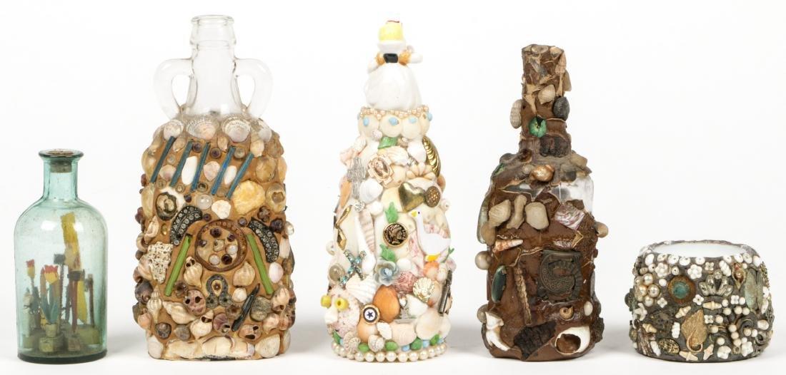 Collection of 6 Old Folk Art Memory Jugs/Bottles - 7