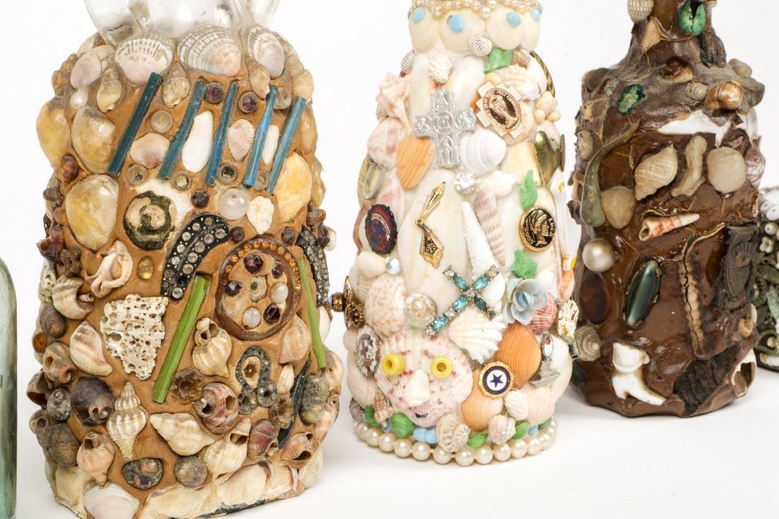 Collection of 6 Old Folk Art Memory Jugs/Bottles - 8