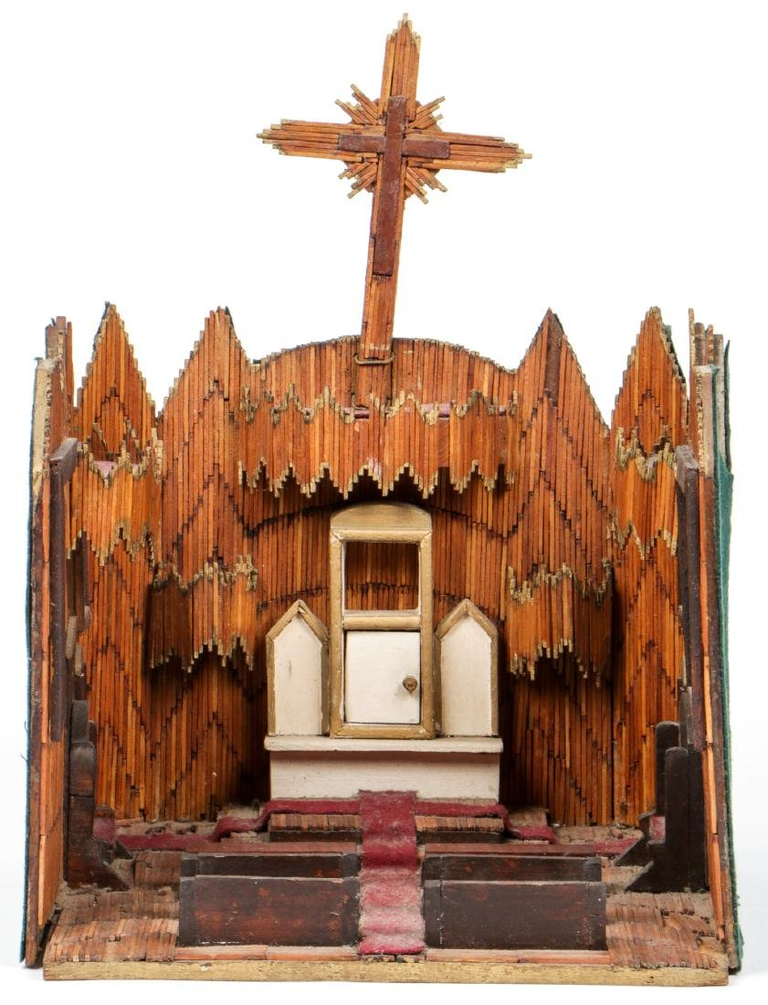 Vintage Folk Art Matchstick Church Interior - 2