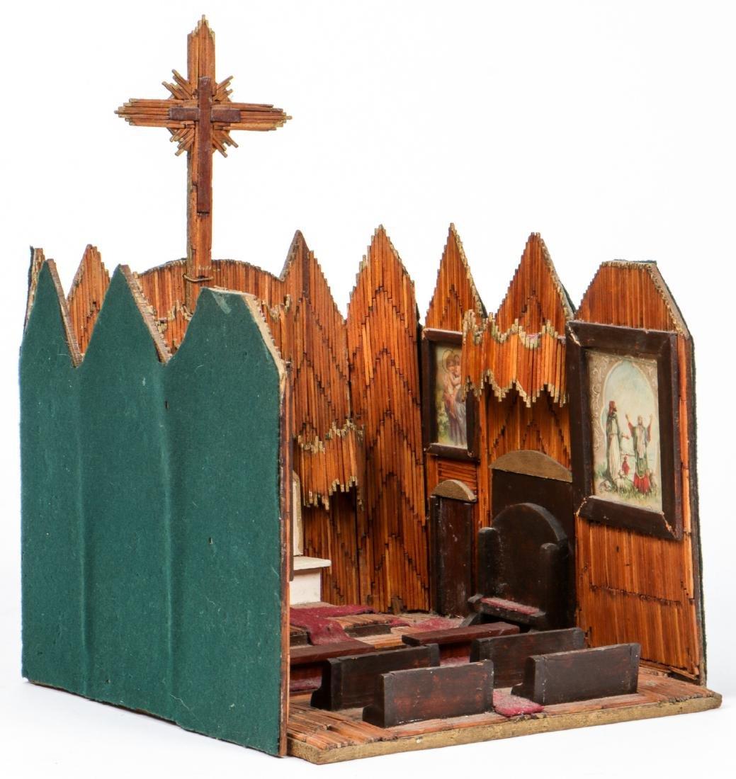 Vintage Folk Art Matchstick Church Interior - 3