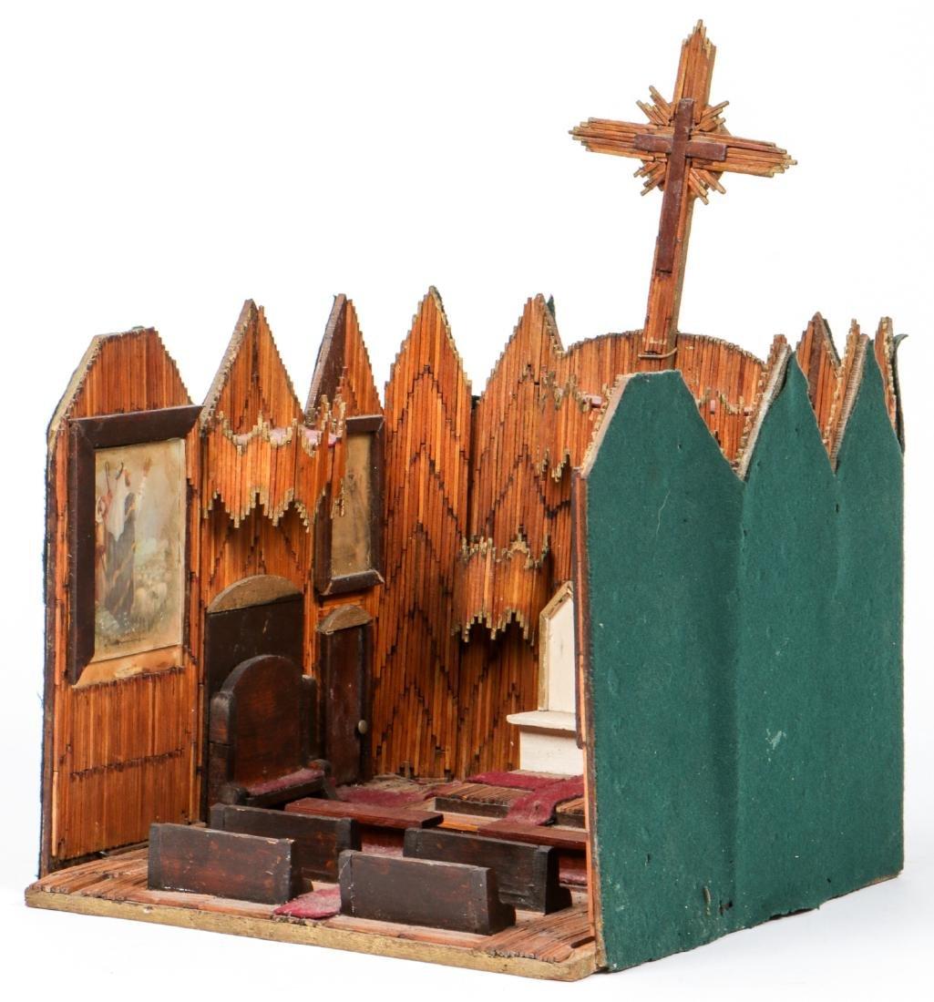 Vintage Folk Art Matchstick Church Interior - 7