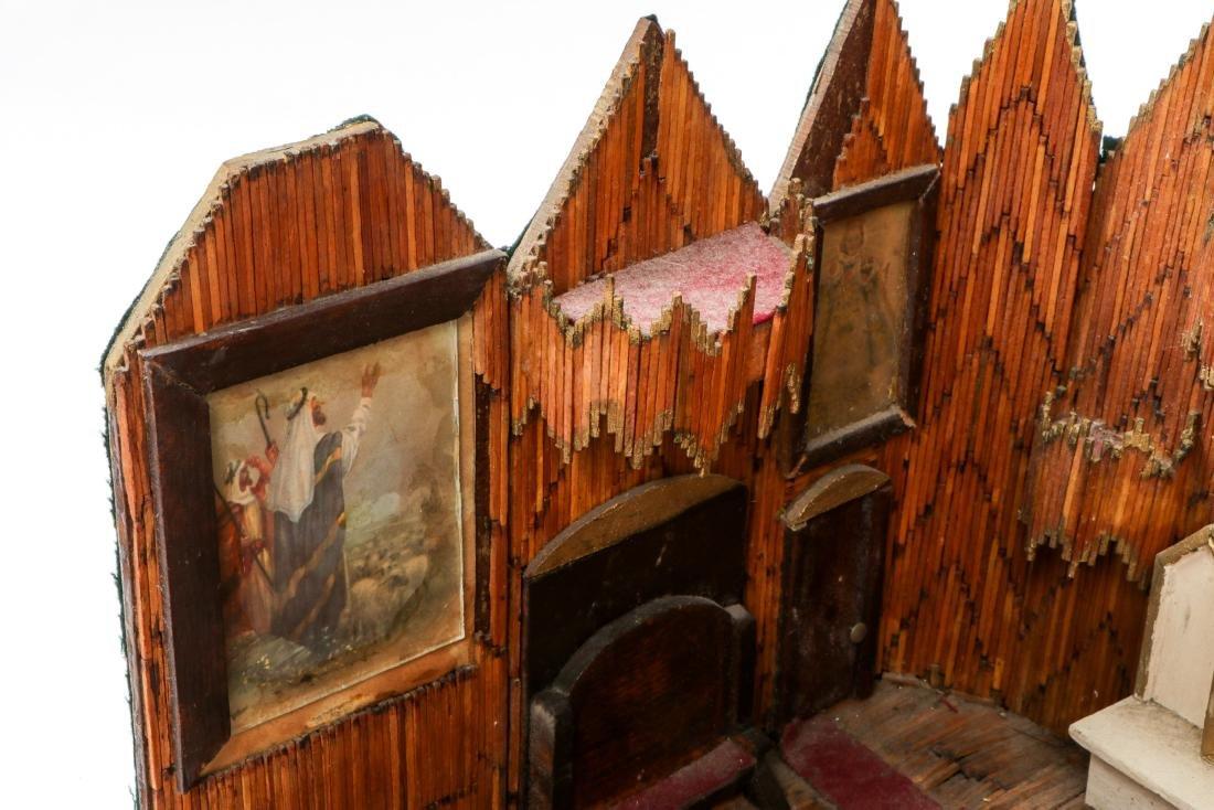 Vintage Folk Art Matchstick Church Interior - 8