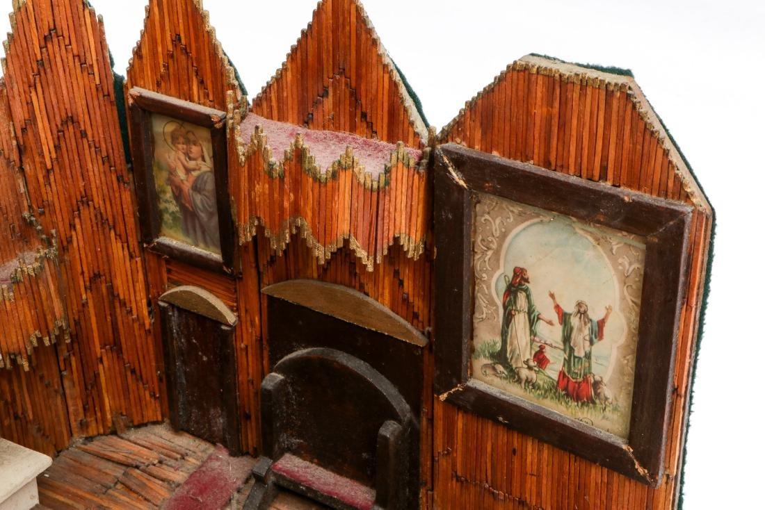 Vintage Folk Art Matchstick Church Interior - 9