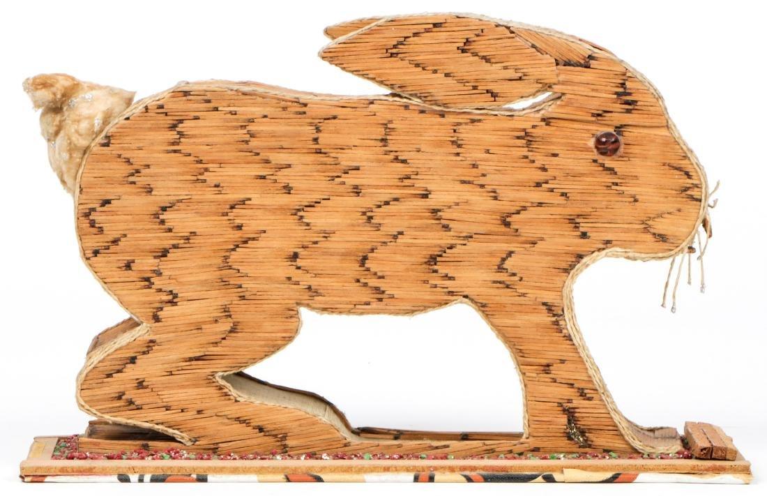Vintage Folk Art Matchstick Sculpture of a Rabbit - 3