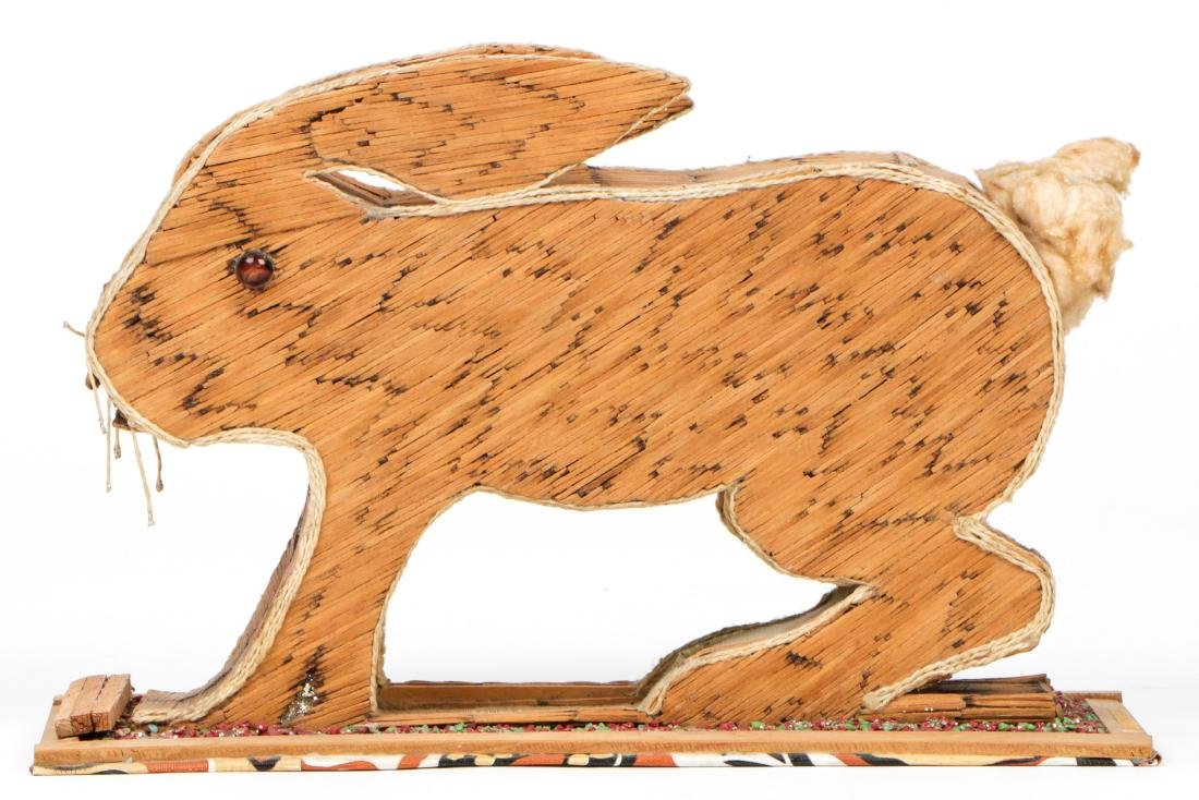 Vintage Folk Art Matchstick Sculpture of a Rabbit - 5