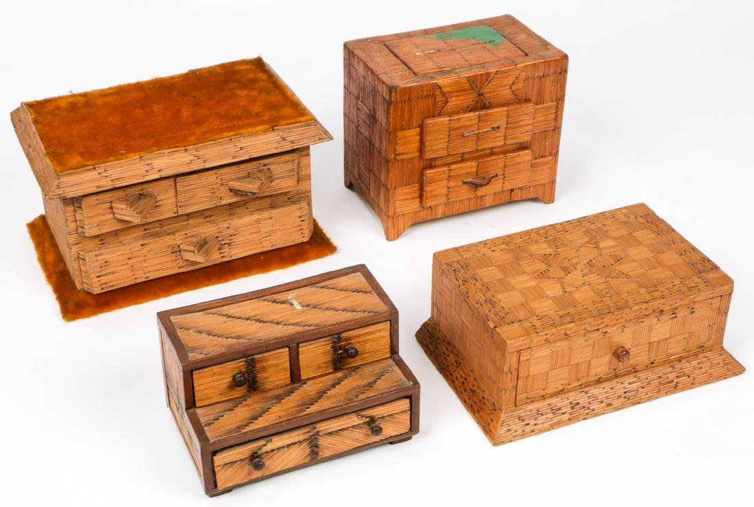 4 Vintage Folk Art Matchstick Boxes