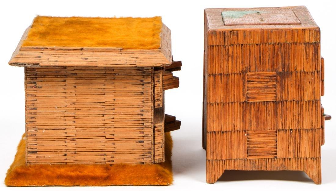 4 Vintage Folk Art Matchstick Boxes - 3