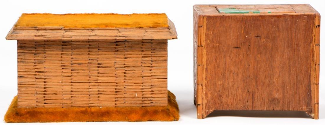 4 Vintage Folk Art Matchstick Boxes - 4