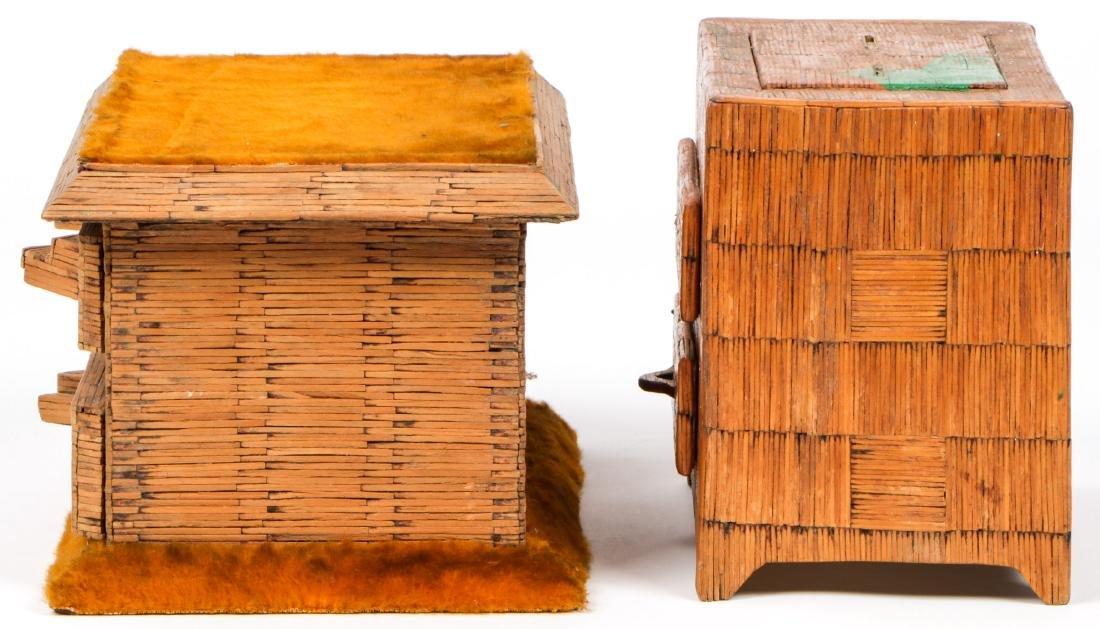 4 Vintage Folk Art Matchstick Boxes - 5
