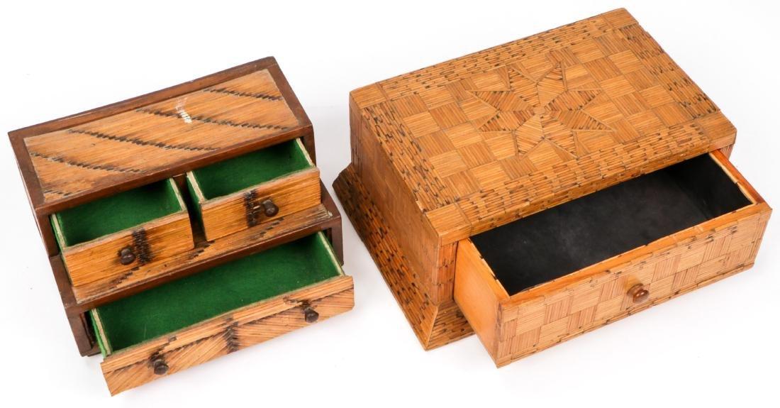4 Vintage Folk Art Matchstick Boxes - 6