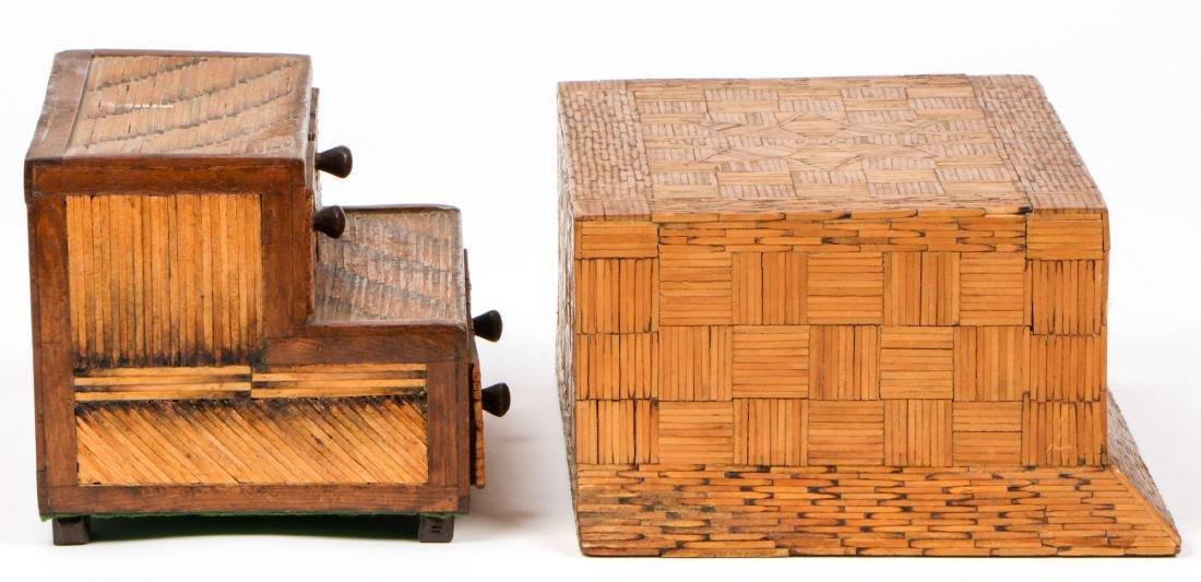 4 Vintage Folk Art Matchstick Boxes - 7