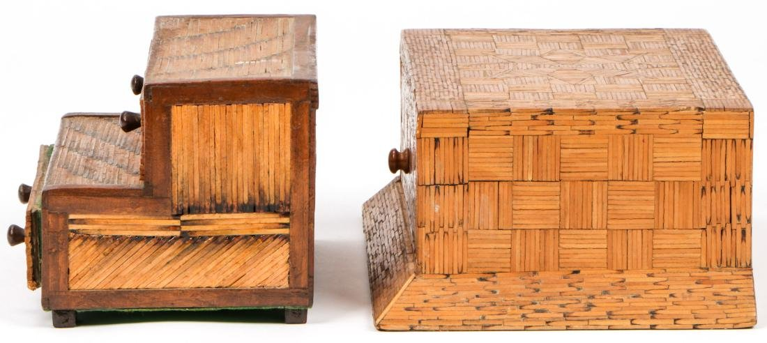 4 Vintage Folk Art Matchstick Boxes - 9