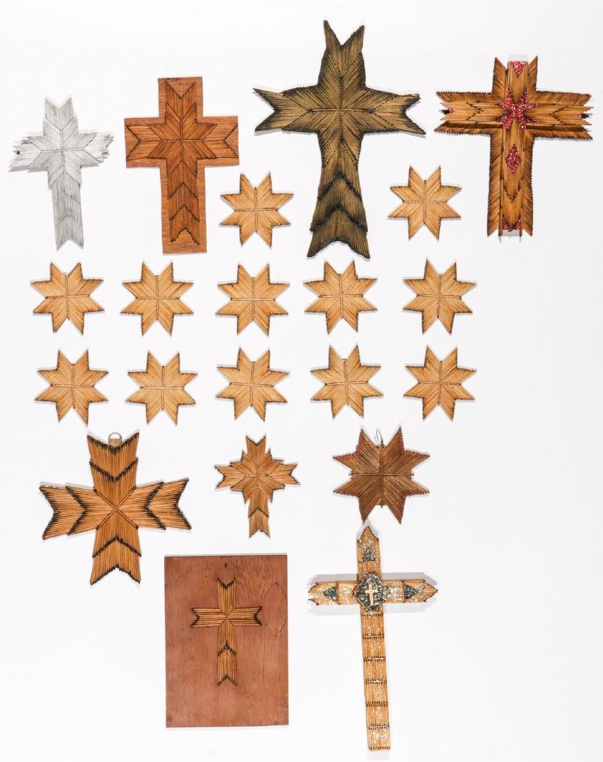 Collection of 21 Matchstick Crosses & Stars