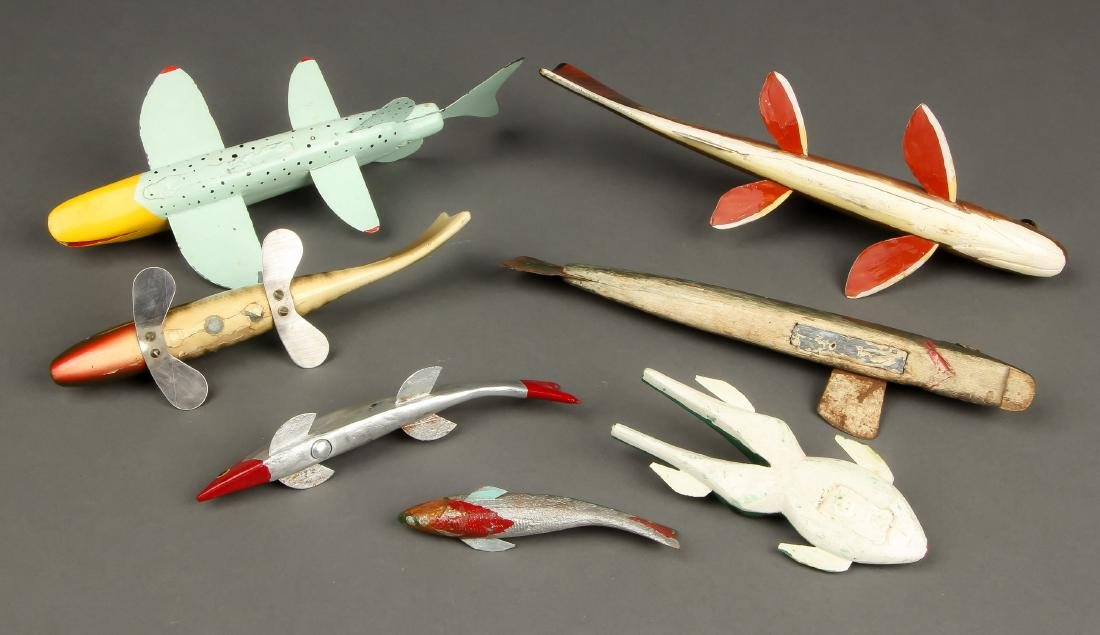Collection of 7 Vintage American Fish Spearing Decoys - 3