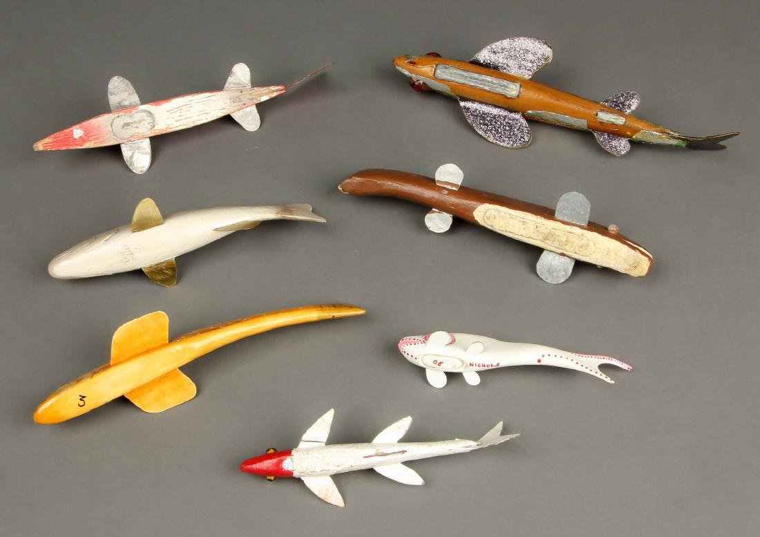 Collection of 7 Vintage American Fish Spearing Decoys - 4