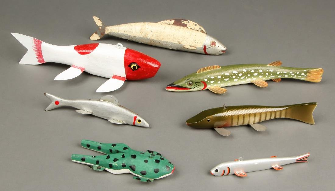 Collection of 7 Vintage American Fish Spearing Decoys