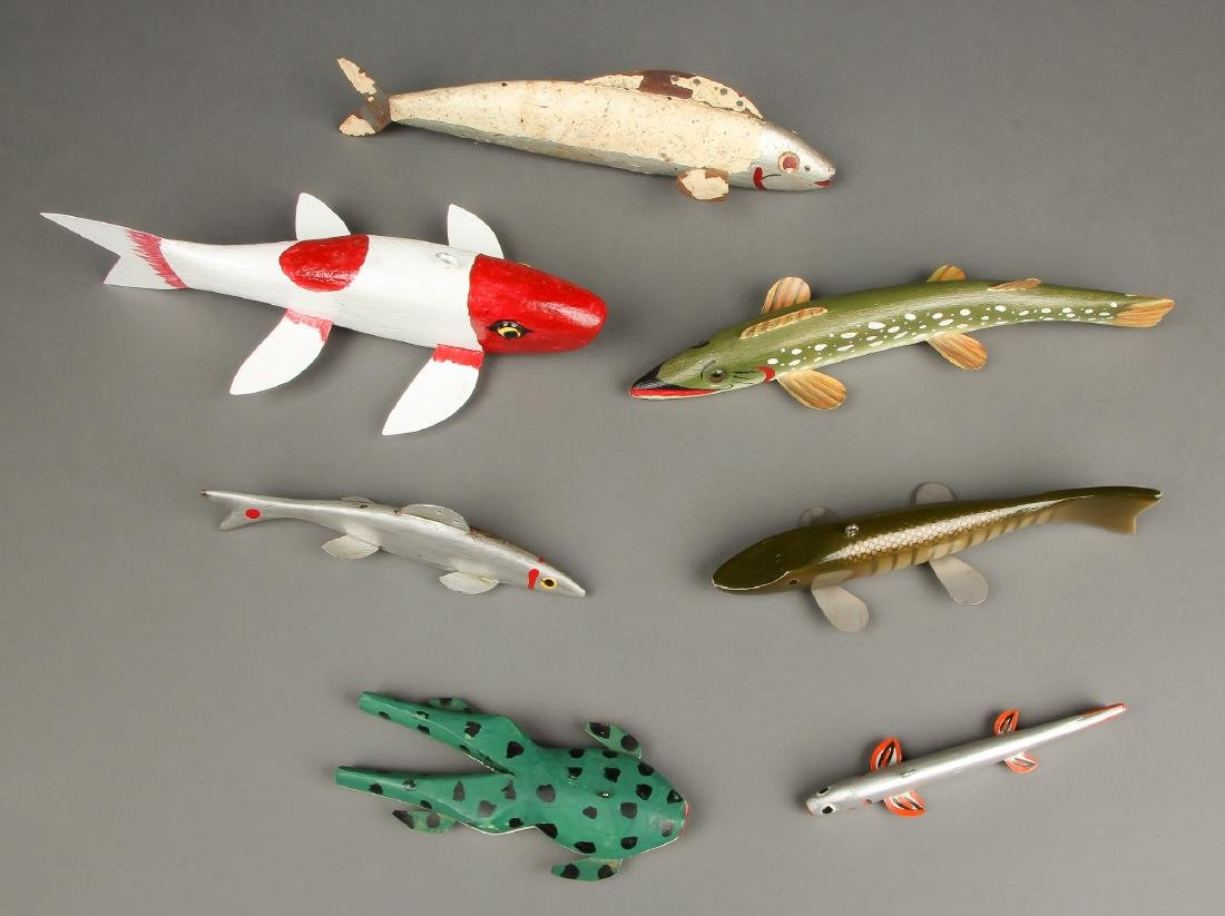 Collection of 7 Vintage American Fish Spearing Decoys - 2