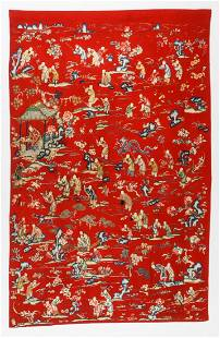 Antique Chinese Silk and Wool Pictorial Tapestry