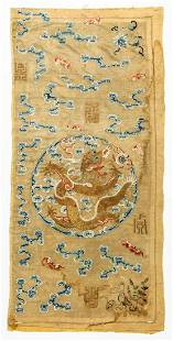 Antique Chinese Imperial Yellow Silk Dragon Panel