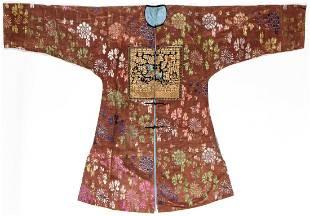 Fine Antique Chinese Silk Brocade Robe w. Rank Badge