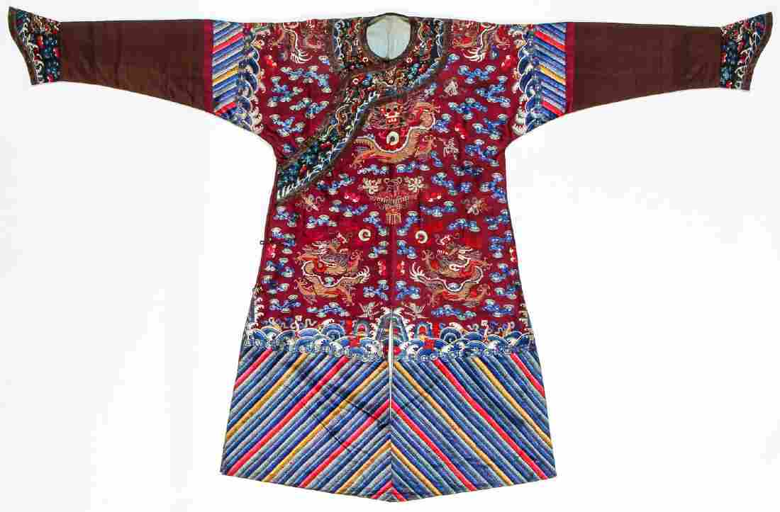Fine Antique Chinese Silk Embroidered Dragon Robe