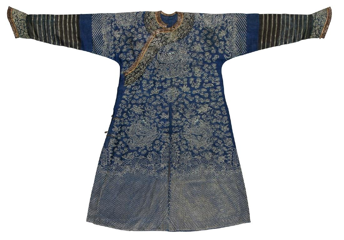Antique Chinese Silk Gauze Summer Dragon Robe