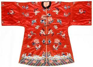 Antique Chinese Red Silk Embroidered Robe