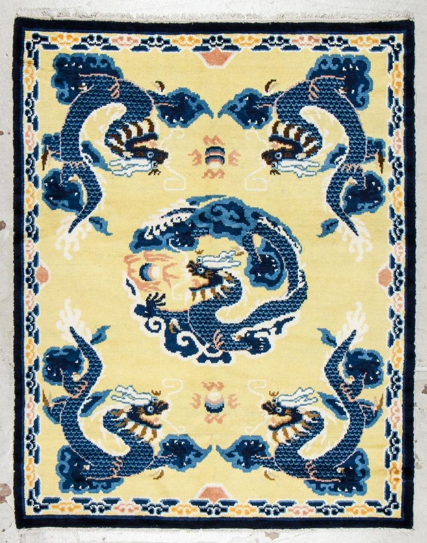 Antique Chinese Dragon Rug: 5'3'' x 6'7'' (160 x 201