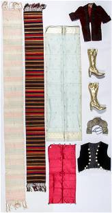 Vintage Textile Lot with Herbert Levine Gold Boots