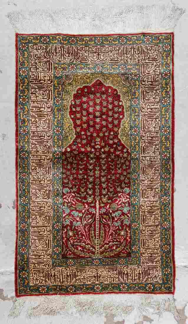 Vintage Turkish Silk Prayer Rug: 2'2'' x 3'6''