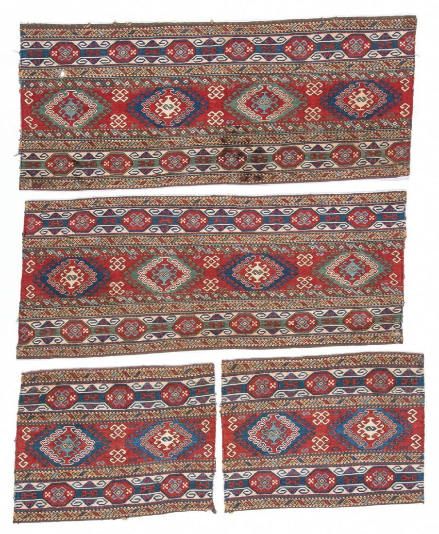 Set of 4 Antique Caucasian Sumak Panels