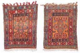 Pair of Semi-Antique Caucasian Sumak Bag Faces