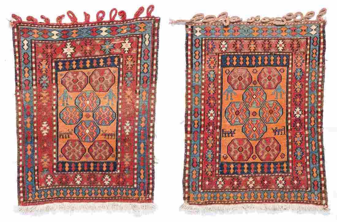Pair of Semi-Antique Caucasian Sumak Bag Faces
