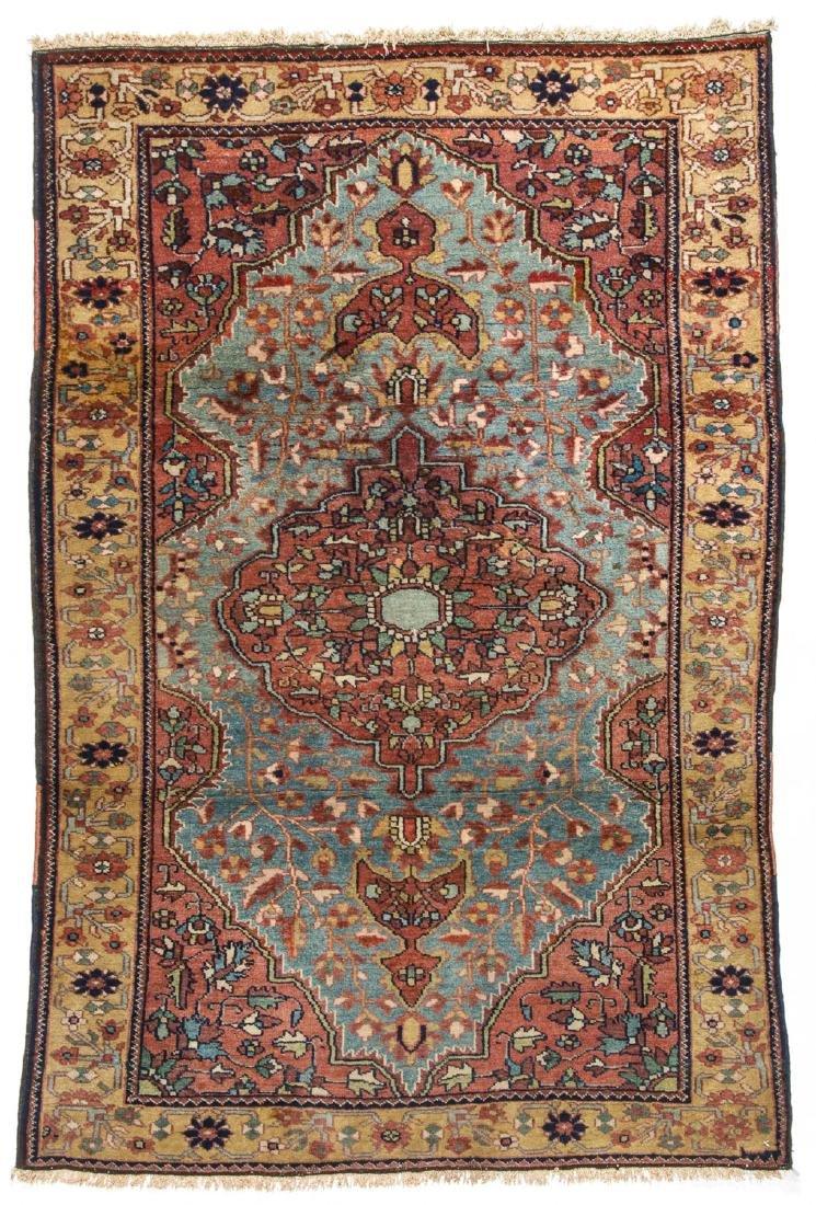 Antique Sarouk Rug: 3'4'' x 4'11''