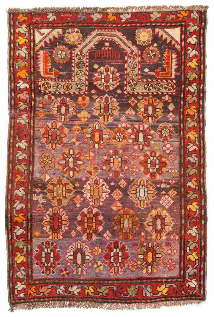 Semi-Antique Caucasian Prayer Rug: 3'1'' x 4'5''