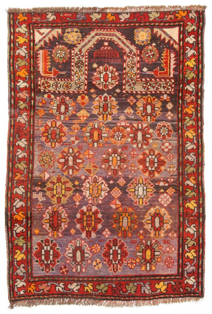 Semi-Antique Caucasian Prayer Rug: 3'1'' x 4'5''
