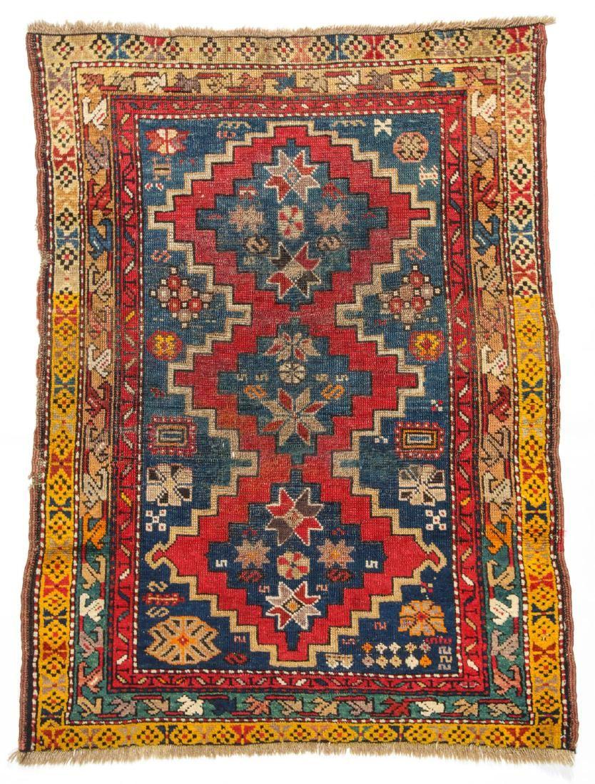 Antique Caucasian Rug: 3' x 3'11''
