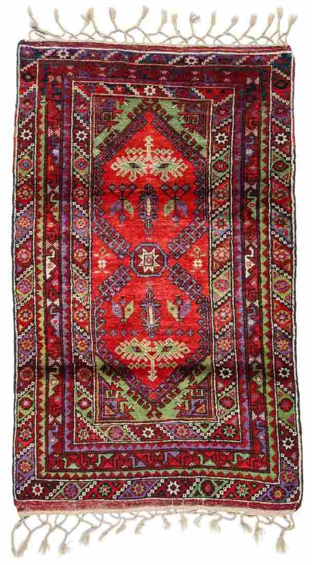 Semi-Antique Turkish Village Rug: 3'6'' x 5'10''