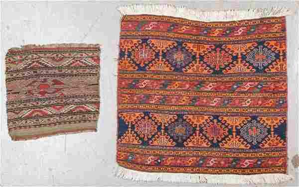 2 Antique Caucasian Sumak Panels