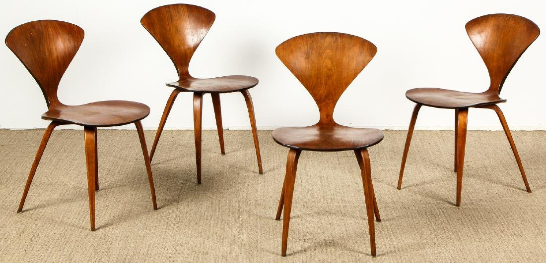 4 norman cherner plycraft dining chairs