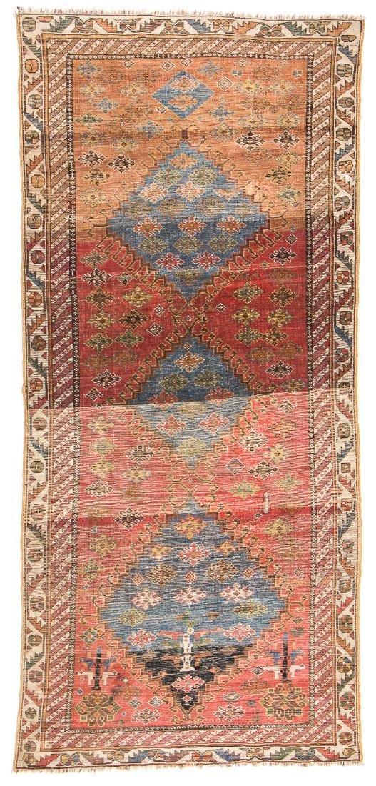 Antique West Persian Kurd Rug: 3'4'' x 7'3'' - 7