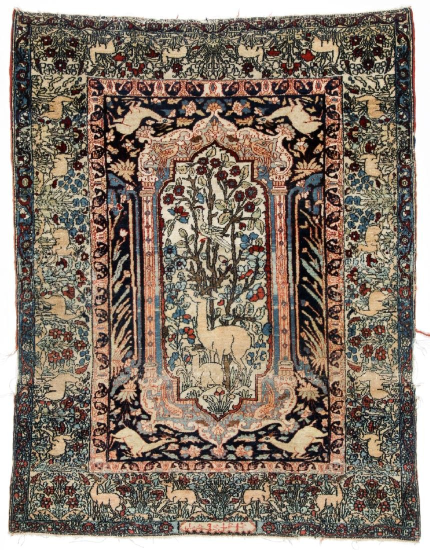 Antique Tabriz Prayer Rug, Persia: 3'7'' x 4'6''