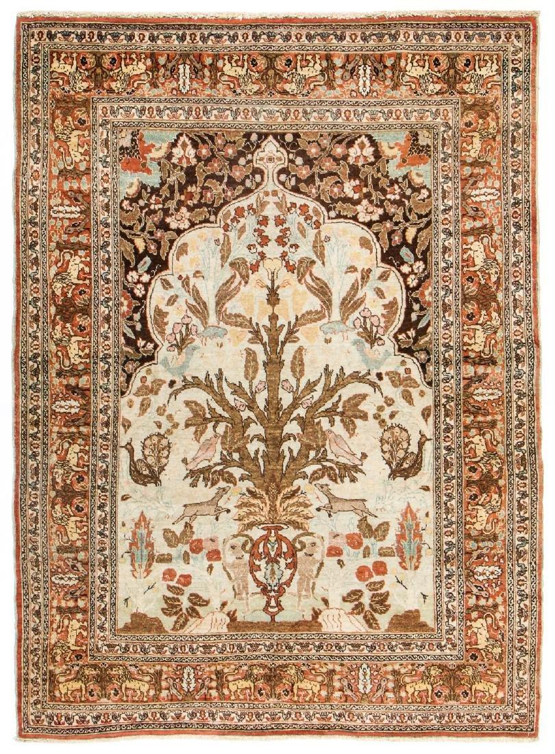 Antique Tabriz  Hadji Jalili  Prayer Rug, Persia: 4'7''