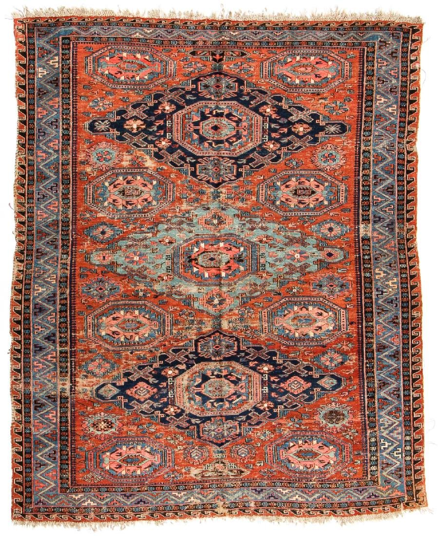 Antique Sumak Rug, Caucasus: 5'3'' x 6'7''