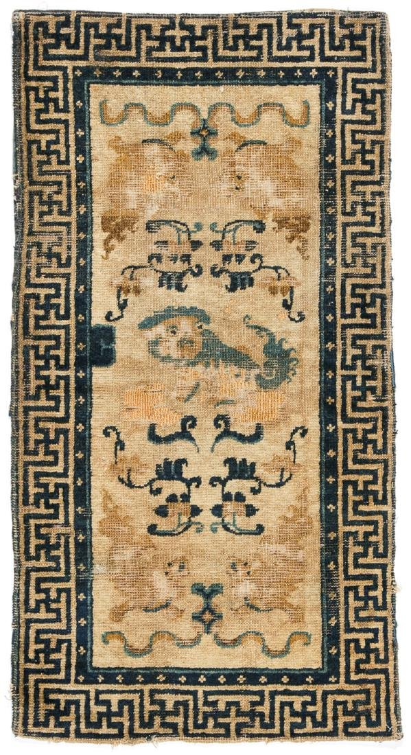 18th C. Chinese Foo Lion Rug: 1'10'' x 3'5''